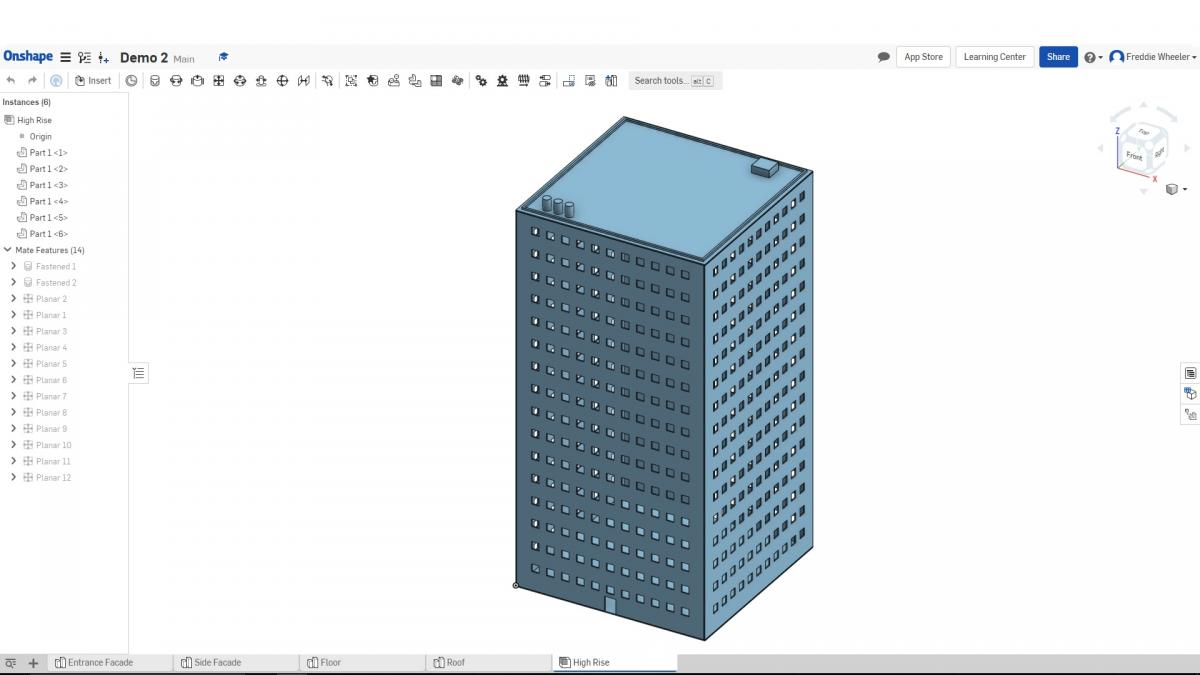 Screenshot of Onshape CAD demo